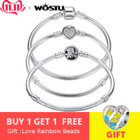 Luxury 100% 925 Sterling Silver Chain Bracelet Original Bangle For Women Fit Authentic Charms Beads Jewelry Bracelet Women Gift