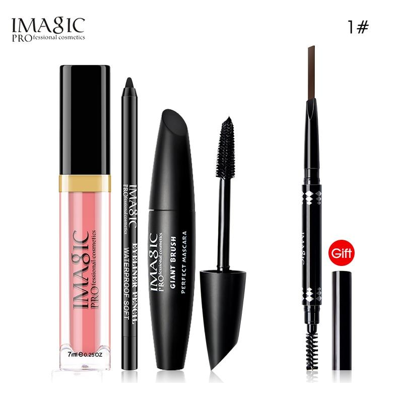IMAGIC Maquiagem Conjunto Pedaço Comprar 3 4 Obter 1 Lip Gloss Adesivo Delineador Rímel À Prova D' Água Lápis de Sobrancelha Automática Presente conjunto