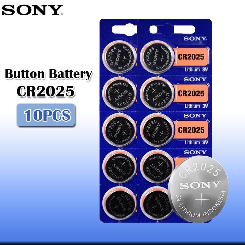 10 шт./лот sony CR2025 3V 100% оригинальная литиевая батарея для часов с пультом дистанционного управления калькулятор CR2025 кнопочные батареи для монет
