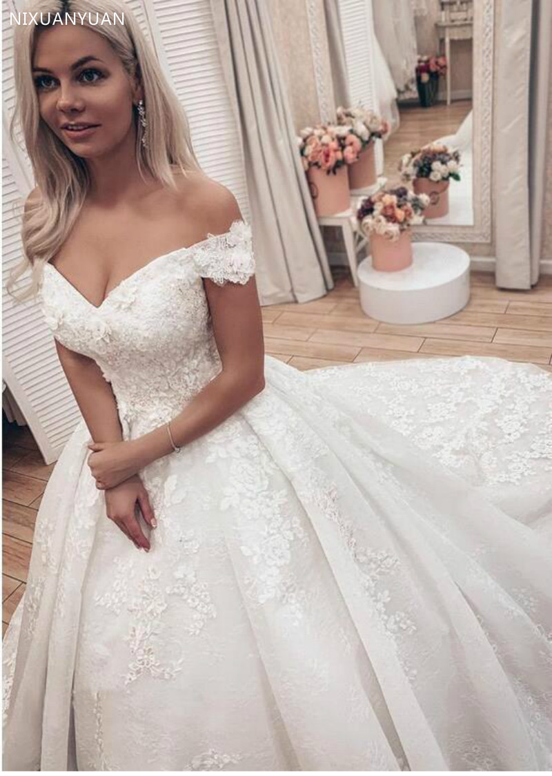 Gorgeous Lace Ball Gown Wedding Dresses Princess Off The Shoulder Lace Up Back Muslim Bride Wedding Gowns Marrige