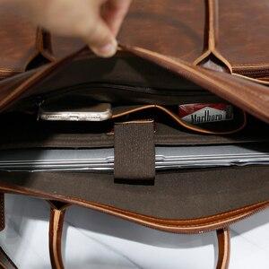Image 4 - Brand Mens Briefcase Handbag Crazy Horse Pu Leather Messenger Travel Bag Business Men Tote Bags Man Casual Crossbody Briefcases