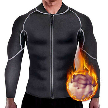 Men Sweat Sauna Suit Weight Loss Neoprene Workout Shirt Body Shaper Gym Compression Top Shapewear Fitness Long Sleeve Shapewear heavy duty fitness weight loss sweat sauna suit exercise gym anti rip black