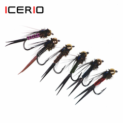 ICERIO 12PCS Zebra Colors Copper John Nymphs Mayfly Stonefly Attractor Trout Fishing Fly Lures