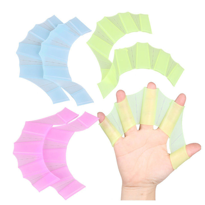 1 Pair Swimming Flippers Hand Swim Trainning Finger Gloves Fins Webbed Paddle