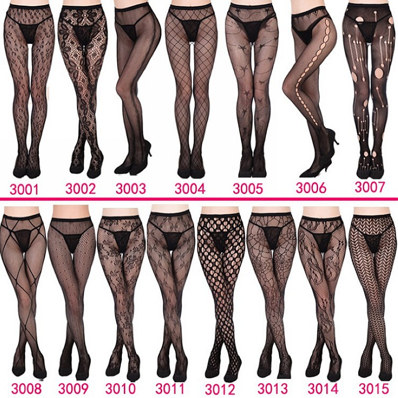 Womens Sexy Fishnet Black Tights Jacquard Weave Pantyhose Yarns Garter Grid Fish Net Stockings Hose Sexy Panty Lingerie Collant(China)