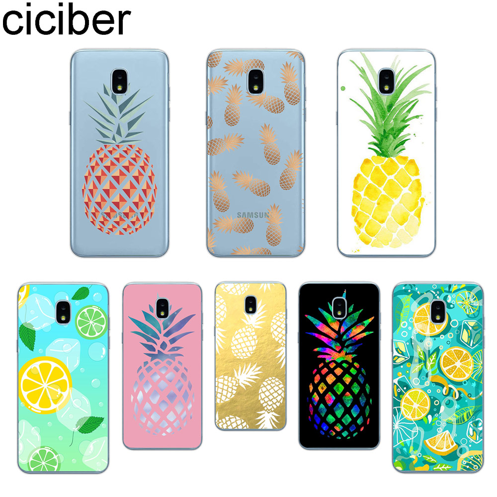 ciciber Phone Case for <font><b>Samsung</b></font> Galaxy <font><b>J6</b></font> J5 J7 J8 J1 J2 J3 J4 Pro Core <font><b>Plus</b></font> Prime mini 2017 <font><b>2018</b></font> 2016 Soft TPU <font><b>Coque</b></font> Pineapple image