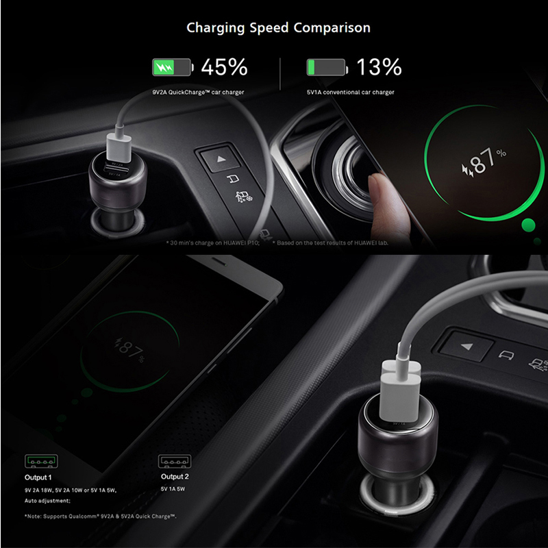 Huawei Original Honor Car Quick Charger Metal FCP Fast Charger For Nova lite 2plus 2s 3 3i 3e 4e 5 P9 Plus Maimang7 Honor Note8 in Car Chargers from Cellphones Telecommunications