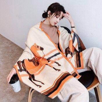 2020 New Women Winter Scarf Cashmere Luxury Brand Shawls Print Lady Pashmina Warm Blanket Wraps