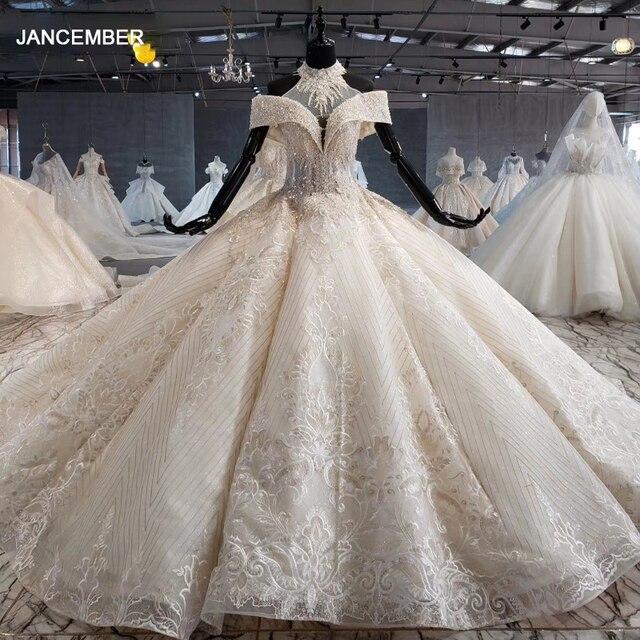 HTL1082 ball gown wedding dress luxury crystal high neck off shoulder bride dress gown plus size swollen tiktok weddind dress