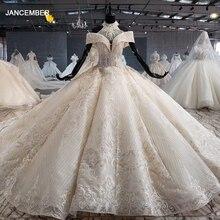 HTL1082 topu cüppe şeklinde gelinlik lüks kristal yüksek boyun kapalı omuz gelinlik elbisesi artı boyutu şişmiş tiktok gelinlik