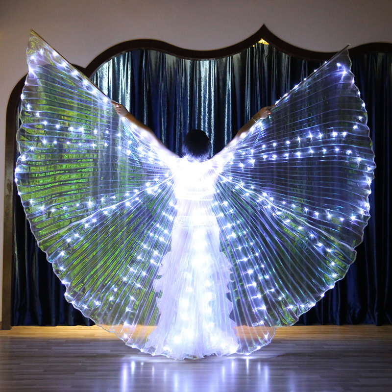 LED Clothing 360 Degree Adult Belly Dance Props Emitters Golden Wings Led Performance Clothing Led Light Costume