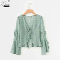 Gold Hands Lace Up Green Female Blouses Shirts Elegant Print Women Chiffon Blouse Summer Holiday Beach Ladies Buttons Tops