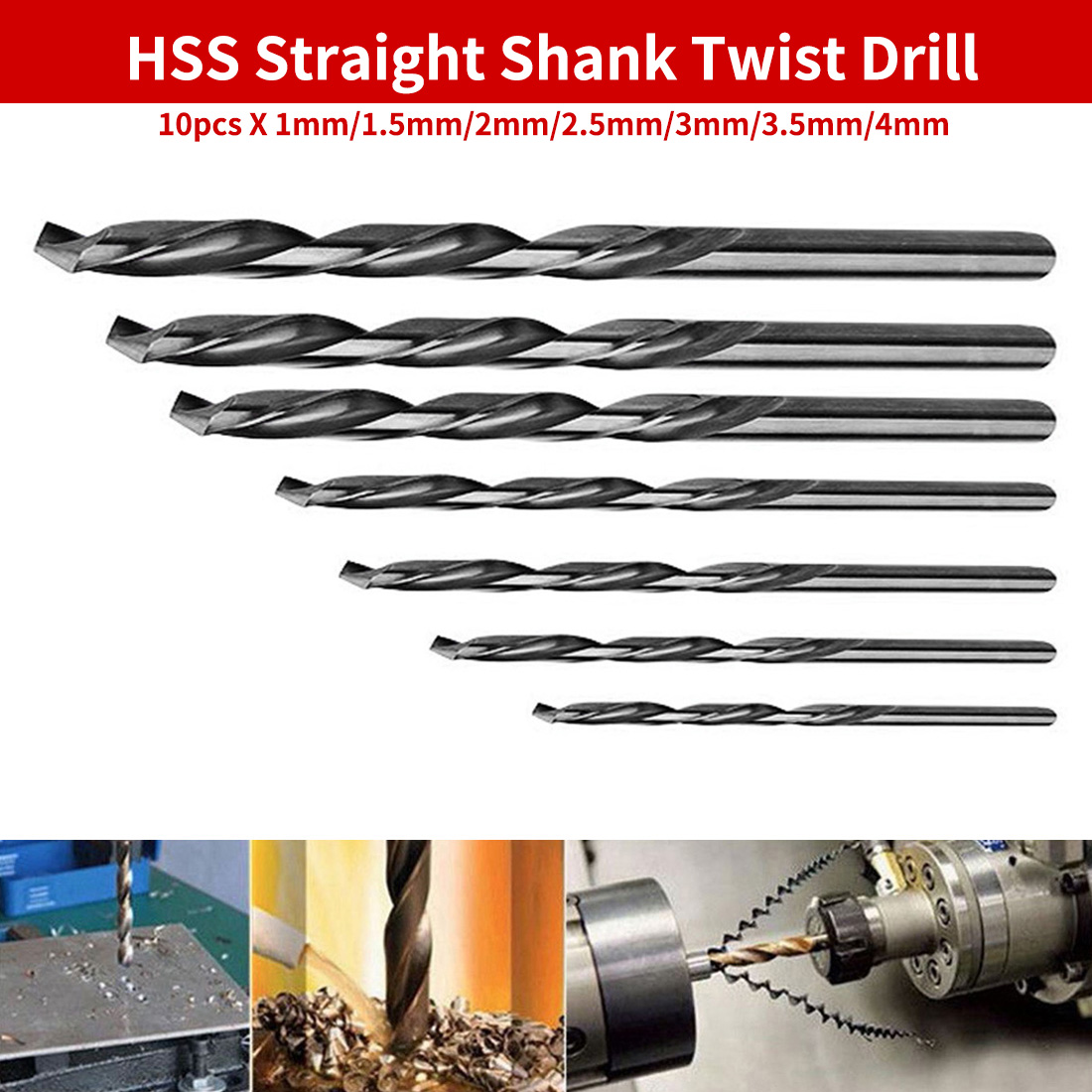 10pcs Twist Drill Bits Set HSS Mini Drill Straight Shank For PCB/Thin Aluminum/Iron Sheet 1mm/1.5mm/2mm/2.5mm/3mm/3.5mm/4mm