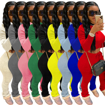Fitness Sportswear Push Up Two Piece Sets Women Fashion Casual Workout Skinny Tracksuits Long Sleeve Top And Pants Set wuhe women fashion o neck short sleeve long swing top and slim pants summer casual two pieces sets playsuits combinaison femme
