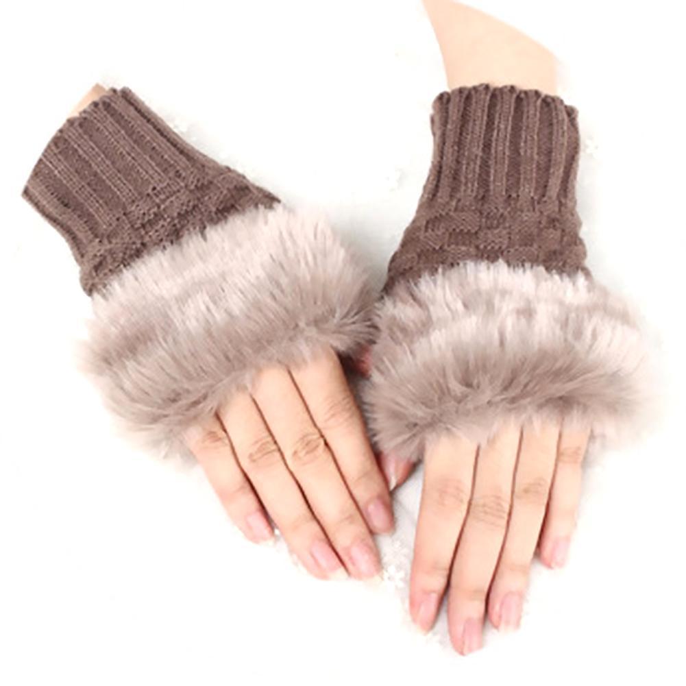 Women Plush Thick Gloves Fingerless Mittens Faux Fur Winter Warm Thicken Knitted Half Finger Gloves