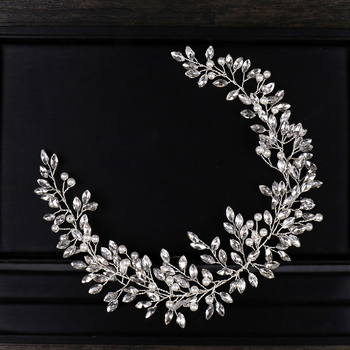 AiliBride Pearl Crystal Headband Wedding Hair Vine Tiara Headband Bridal Headpiece Bride Hair Jewelry Wedding Hair Accessorie