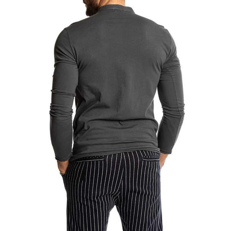 أزياء الرجال بلون طويلة الأكمام س الرقبة تي شيرت رجالي سليم صالح هينلي قمصان البلوز ركض قمم 2019 جديد