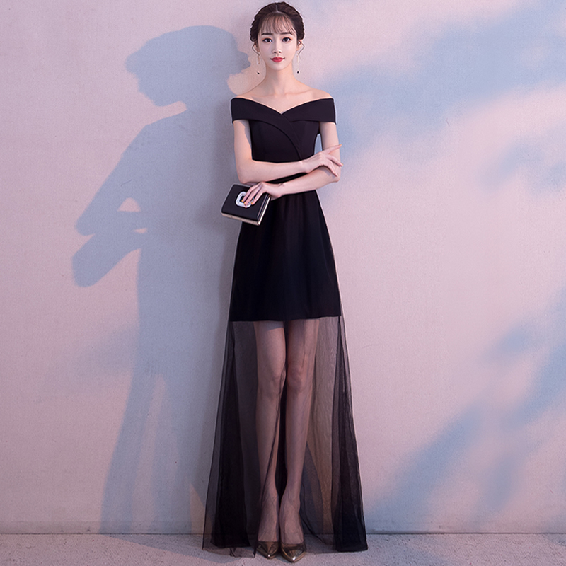 Sexy Black Improved Temperament Gowns Elegant Off Shoulder Banquet Dress Chinese Long Dresses Evening Party Dresses Cheongsam