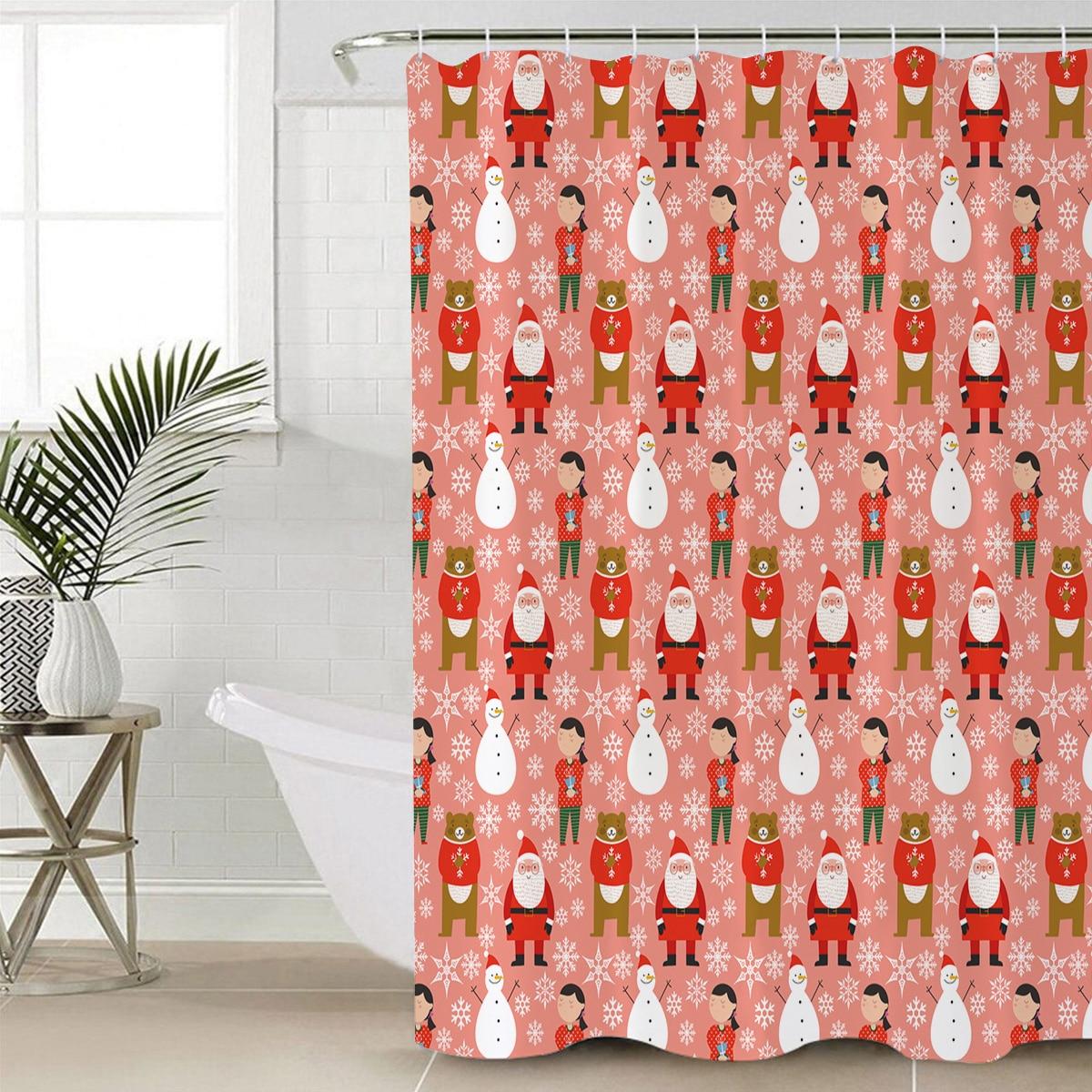 Xmas Puppies Pugs Santa/'s Red Cap Bathroom Polyester Fabric Shower Curtain Set