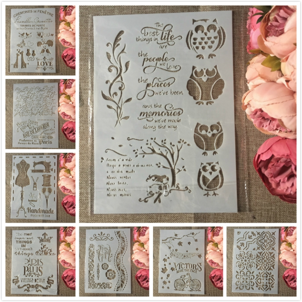 8Pcs A4 European Style Owl Paris DIY Layering Stencils Painting Scrapbook Coloring Embossing Album Decorative Card Template