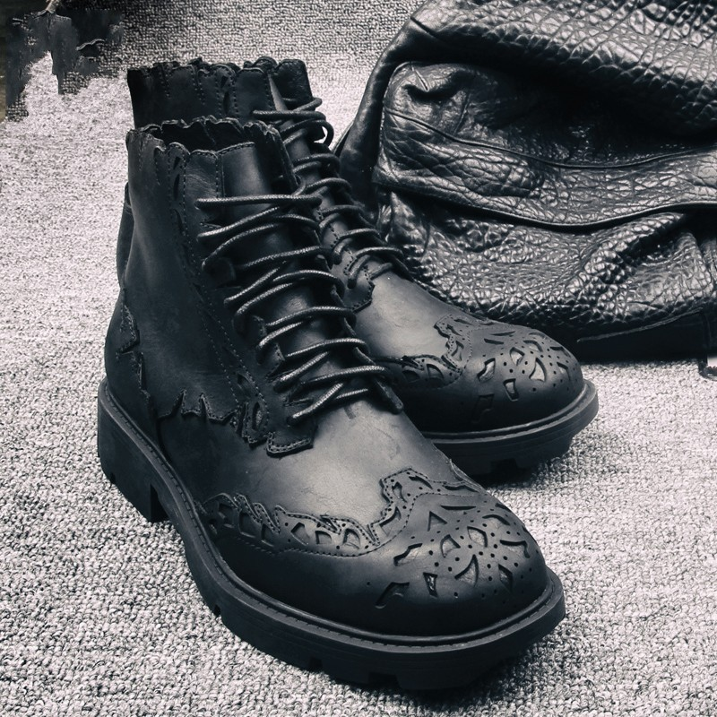Luxury Brogue Shoes Men Business Lace Up Genuine Cow Leather Ankle Boots England Style Winter Fashion Black Platform Boots 39-44