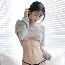 Японский женский укороченный топ с открытой грудью, женские свитера, вязаный свитер с длинным рукавом и v-образным вырезом, сексуальные эротические короткие пуловеры Babydoll