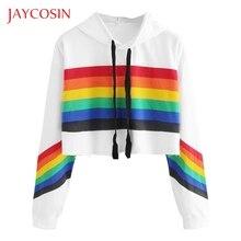 JAYCOSIN sweatshirt women long sleeve Hoodie Pullover Rainbo