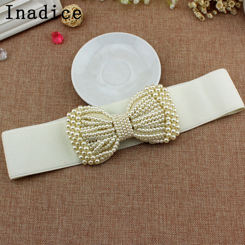 Inadice Pearl Bow Belt Simple Fashion Elegant Women's Wide Belt Dress Elastic Stretchable Wide Belt Cute
