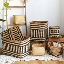 Handmade Bamboo Storage Baskets Flower Pot African Element Toy Sundries Storage Bucket Organizer Laundry Basket Home Decoration