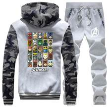 De Avengers Grappige Mannelijke Set Casual Iron Man Sportman Wear mannen Marvel Comic Camo Jassen Set Mode Broek Fleece sweatshirt(China)