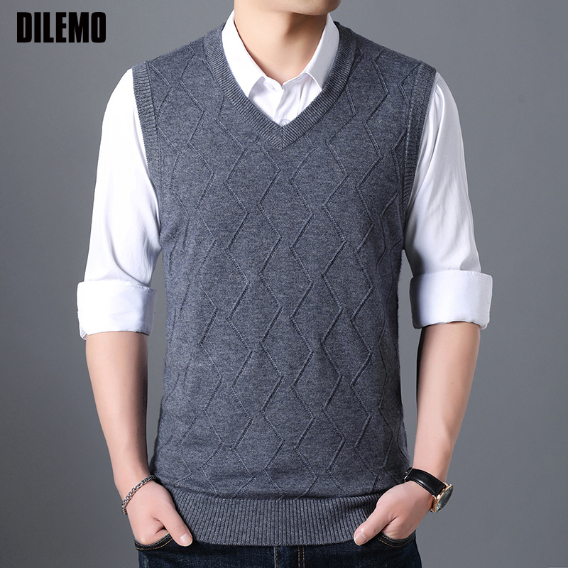 Fashion Brand Sweater Men Pullovers Vest Slim Fit Jumpers Knitting Jacquard Sleeveless Autumn Korean Style Casual Men Clothes