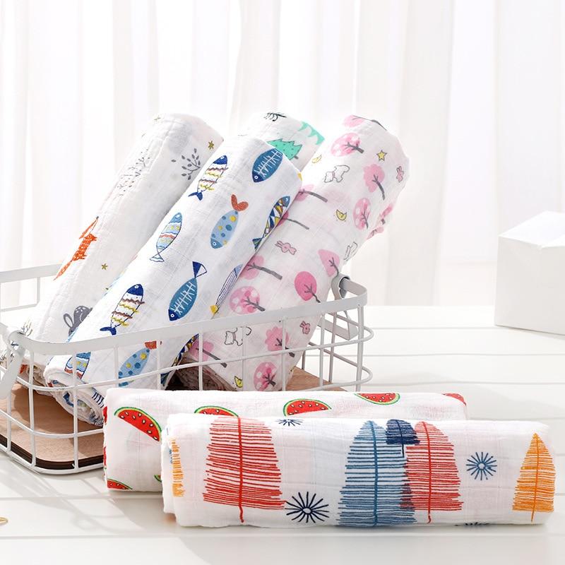 120cm*110cm Swaddle Blanket Baby Blanket Bamboo Muslin Blanket 120 Baby Blankets Newborn Blanket Swaddle Cotton