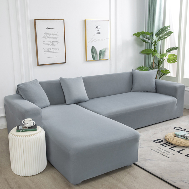 Solid Color Wraping Corner Sofa Cover 1