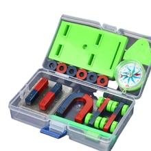 Basic Physics Principles Set DIY Magnet Bar Ring Horseshoe Car Compass Kids Science Experiment Tool Kids Student Physical Toy