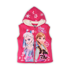 Fur Girls Vest Winter Baby Toddler Girl Fleece Warm kids Halloween Anna Elsa costume Autumn Hooded Jacket meisjes vest