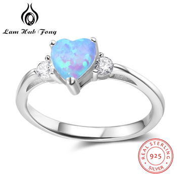 925 Sterling Silver Heart Rings for Women Blue Opal Ring CZ Finger Ring Engagement Wedding Gift Fine Jewelry (Lam Hub Fong) newshe pear shape blue side stones aaa cz solid 925 sterling silver wedding ring set engagement band fashion jewelry for women