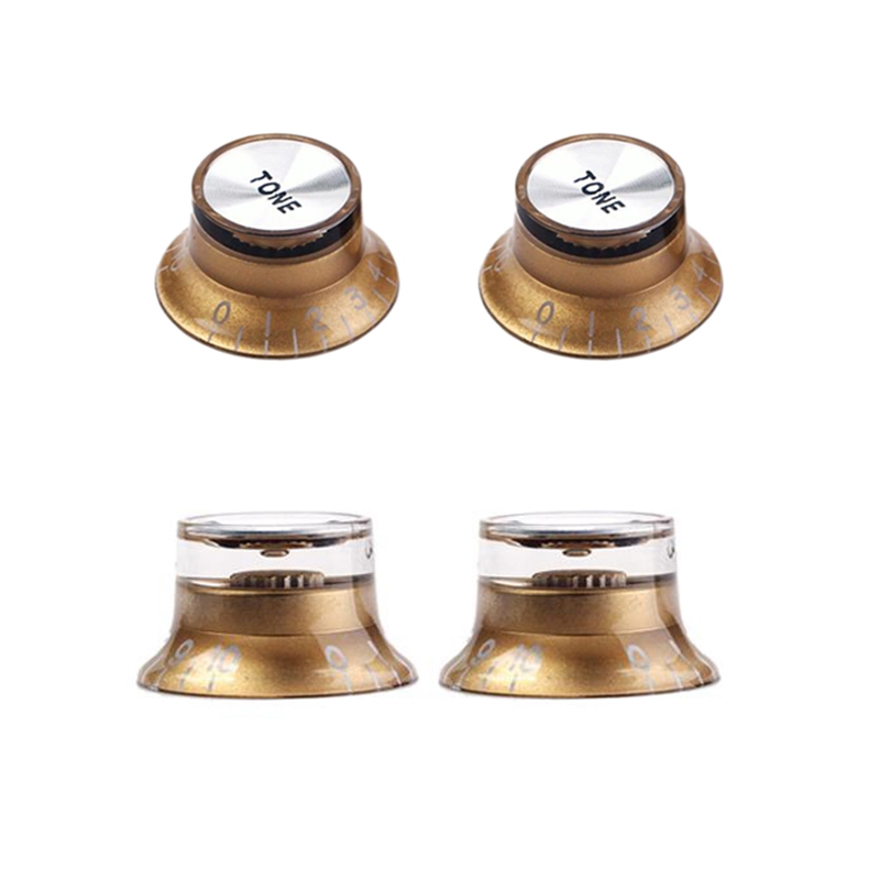 Set Gold Top Hat Knob for Gibson for Les Paul Gold Foil Button