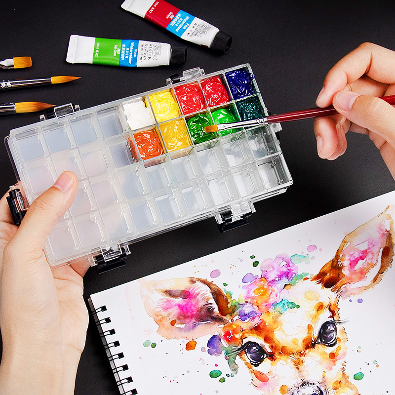24 Grids Paint Palette Box Empty Watercolour Tin Case Airtight Leakproof Watercolour Paint Palette Case Deep Plastic Palette Tray with Rubber Lid for Gouache Acrylic Oil Painting Drawing Artist