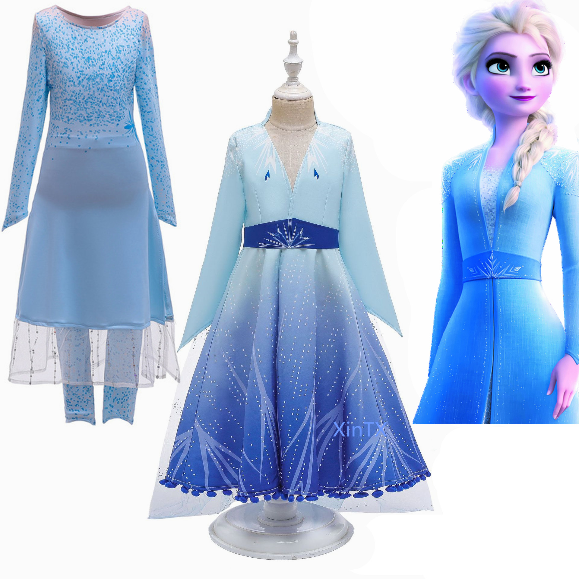 Elsa Dress 2 Kids Dresses For Girls Anna Costume Carnival Birthday Party Dress Toddler Girls Princess Dress Children Clothing