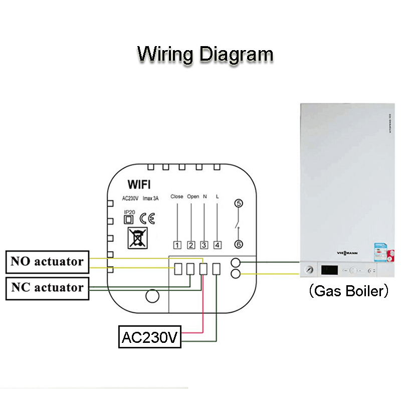beok 3a gas boiler heating wifi thermostat app remote controls thermostats  regulator blue backlight programmable bot313wifi