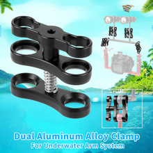 Aluminum CNC Ball Head Butterfly Clip Diving Light Arm 360Degree Clip Adapter Bracket Holder for Gopro YI for OSMO Action Camera