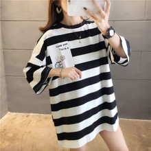 Women's bts loose mid-length black white stripe round neck hooded sweater women shirt summer 2020 female fashion clothes