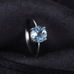 Image 2 - JewelryPalace אמיתי כחול טופז טבעת סוליטייר 925 סטרלינג כסף טבעות לנשים אירוסין טבעת כסף 925 תכשיטי אבני חן