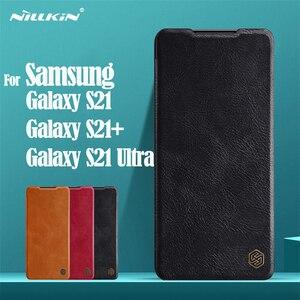 Image 1 - لسامسونج غالاكسي Samsung Galaxy S21 الوجه الحال S21 Plus زائد S21 Ultra الترا غطاء Nillkin تشين جلدية الوجه غطاء بطاقة جيب كتاب الحال بالنسبة لسامسونج Samsung S21 +