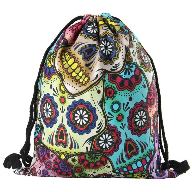 2019 New Skull Drawstring Bags 3D Printed Drawstring Backpack Mexican Skull 3-D Printing Drawstring Bag