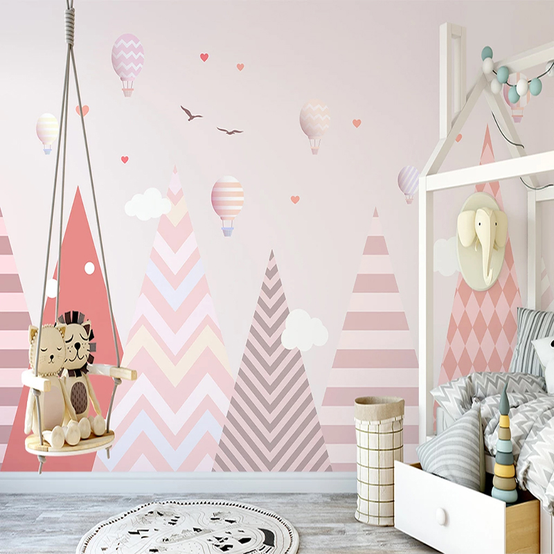 Custom 3D Photo Wallpaper Pink Hot Air Balloon Abstract Geometric Pattern Princess Room Children's Bedroom Wall Mural Paintings