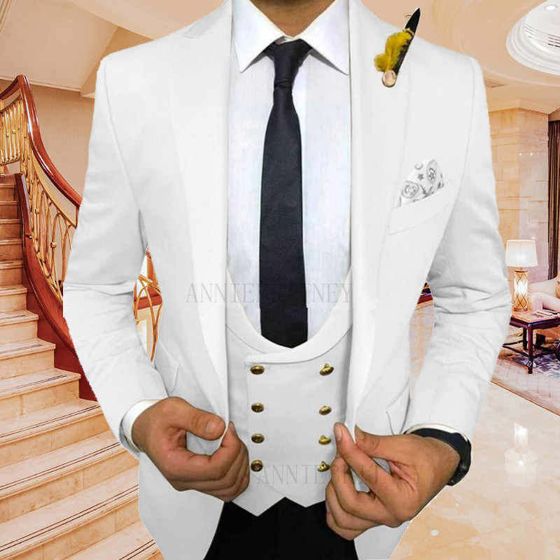 2020 Stylish Men S Suit 3 Piece White Prom Wedding Suits For Men Tailored Groom Tuxedo Slim Fit Suit Men Blazer Jacket Pants Set Suits Aliexpress