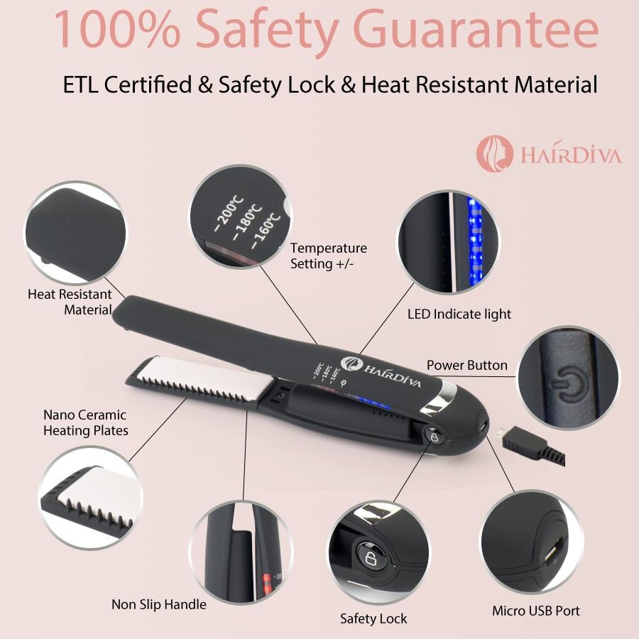 HairDiva Mini Travel Flat Iron Hair Straightener Dual Voltage Usb Charging Titanium Flat Irons Portable Hair Straightner|Straightening Irons| |  - title=