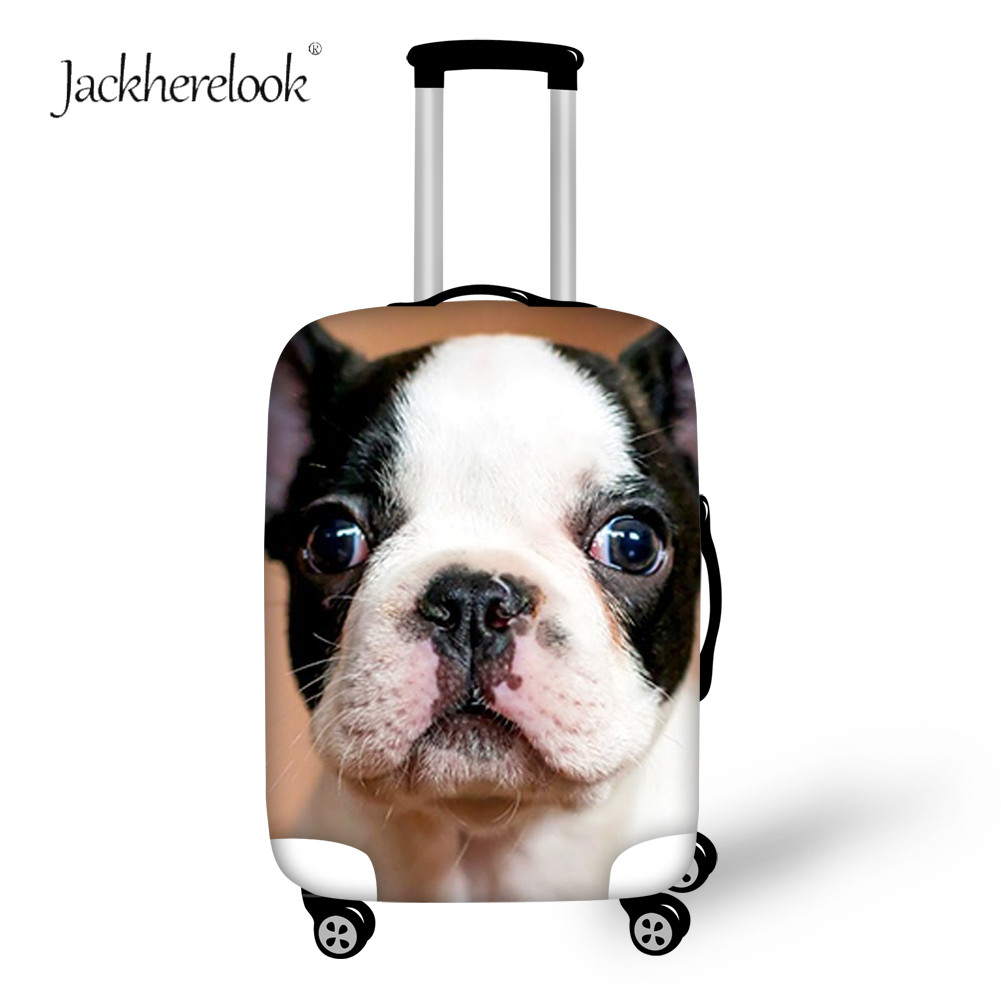 Jackherelook Cute French Bulldog Dog Luggage Bag Cover Travel Suitcase Protect Case Water Proof Cover Suit For 18-32 Inch Cases