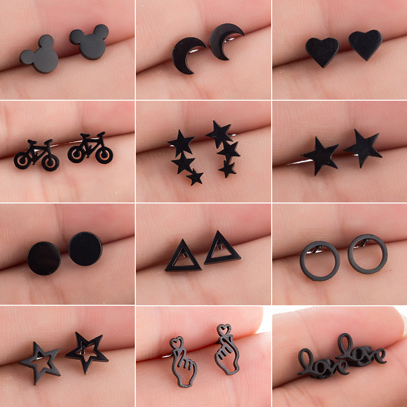 Oly2u Small Stainless Steel Geometric Earrings For Women Statement Jewelry Earings Cute Heart Round Mickey Earing Studs Bijoux